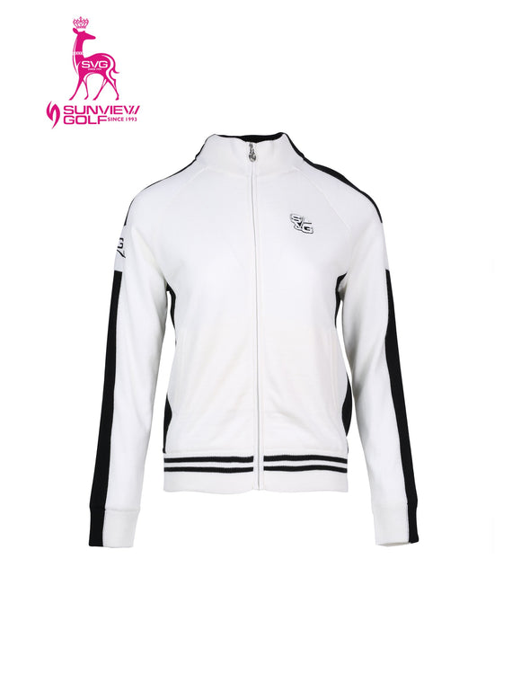 Women's zip-up sweater, in black and white color blocking.