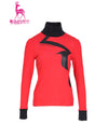 Women's long sleeve layer top with mock neck, in black and red color blocking.