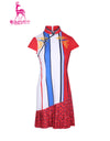 Women's mid-length cheongsam, in white and navy color blocking, with phoenix print, red and blue stripe trims.