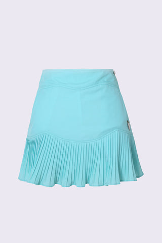 Women's green skirt, with pleated hem.