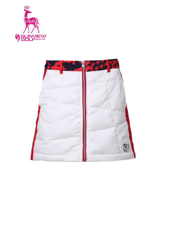 Women's zipped A-line skirt with padding, in red and white color blocking.