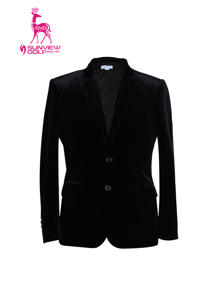 Men's blazer, in black velvet.
