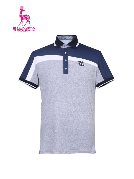 Men's short sleeve polo, in gray, navy and white color blocking.