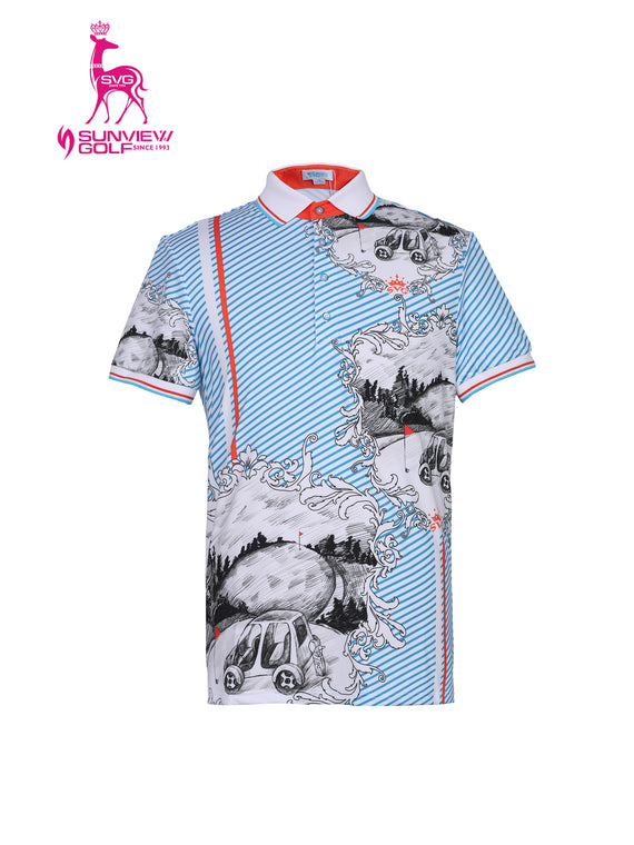 Men's short sleeve polo, in blue and white stripes, with hand-drawn art print.