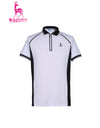 Men's short sleeve polo, in black and white color blocking.