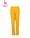 Men's straight pants, in yellow.