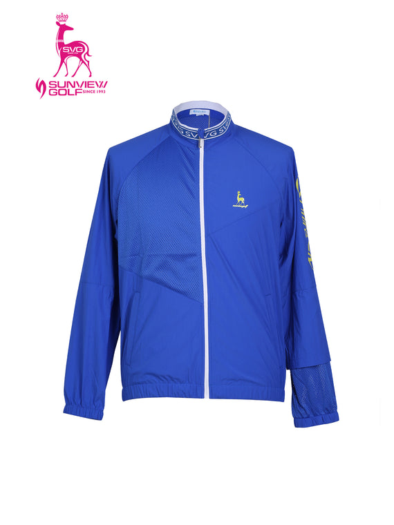 Men's long sleeve windbreaker with stand collar, in blue, white and yellow slogan print.