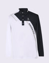 Men's long sleeve polo, in black and white color blocking