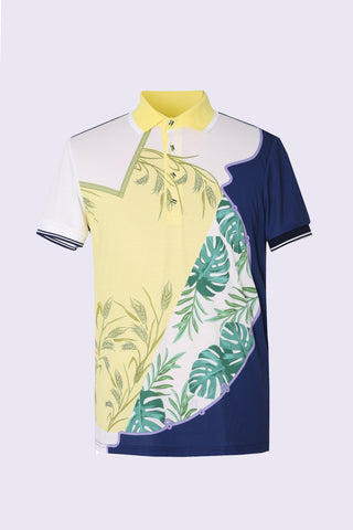 Men's white short sleeve polo, in yellow and navy custom floral print.