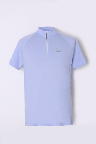 Men's short sleeve layering top with stand zipped collar, in blue.
