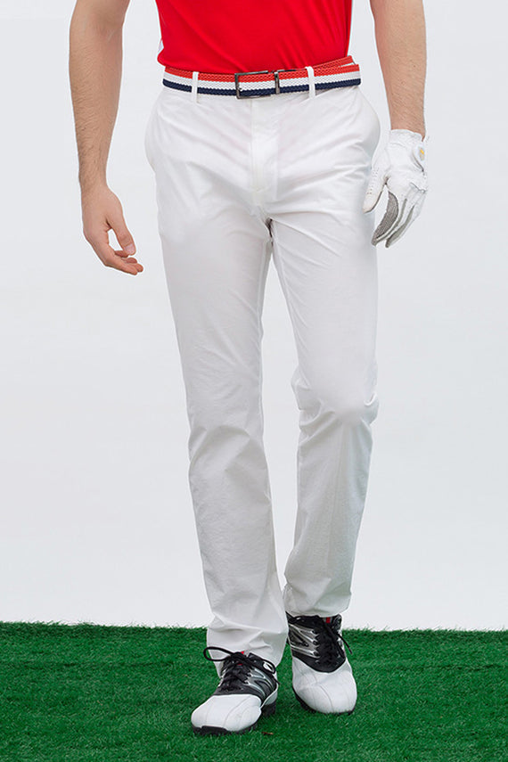 Men's straight pants, in white.