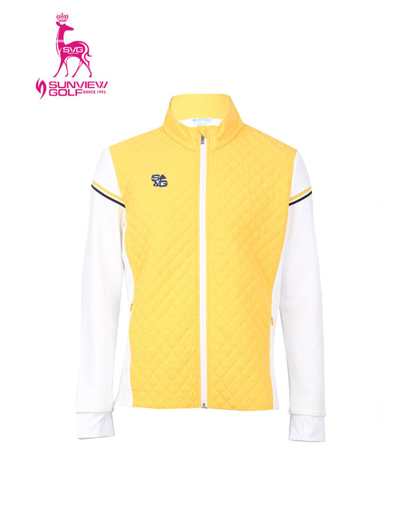 Men's padded zip-up jacket, in white and yellow color blocking.