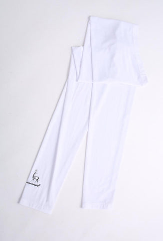 Women's white UV protection sleeves, cool touch fabric.