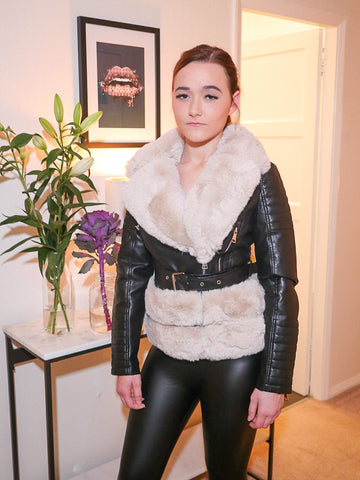 Beau Black Jacket with Cream Faux Fur