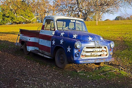 Classic Dodge Truck Painted with American Flag