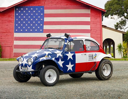 Volkswagon VW Bug with American Flag
