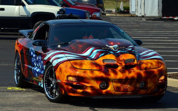 Pontiac Trans Am with American Flag, Eagle and Flames