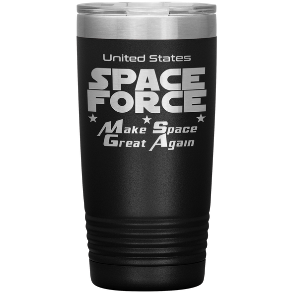 Black Space Force 20 Ounce Etched Tumbler - Make Space Great Again