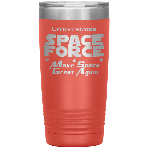 Coral Space Force 20 Ounce Etched Tumbler - Make Space Great Again