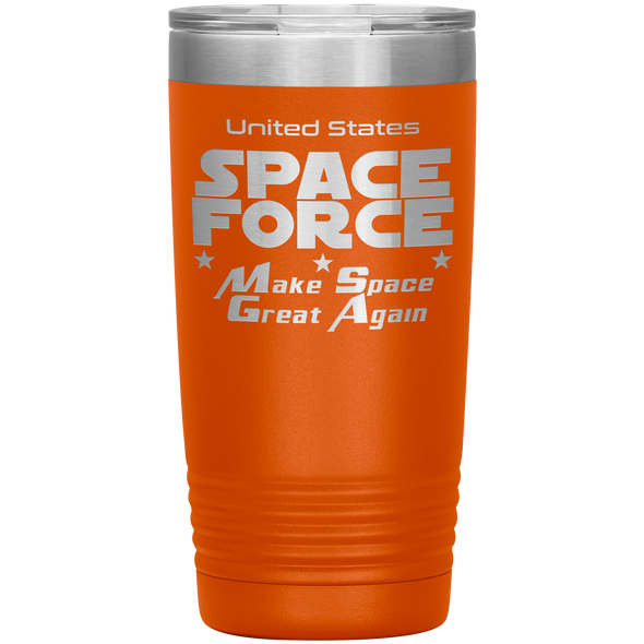 Orange Space Force 20 Ounce Etched Tumbler - Make Space Great Again