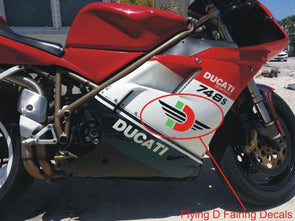 "Large Fairing ""Flying D"" Decal Set Fits Ducati All Models"