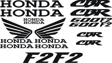 Black Honda CBR 600F2 Decal Sticker Set - 16 Vinyl Decals