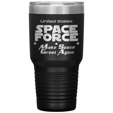 Black Space Force 30 Ounce Etched Tumbler - Make Space Great Again