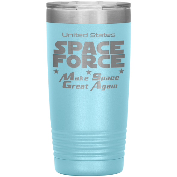 Light Blue Space Force 20 Ounce Etched Tumbler - Make Space Great Again