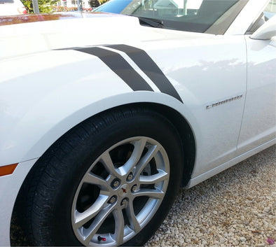 Black Double Bar Hash Fender Stripes Fit Chevy Camaro 2010-2015