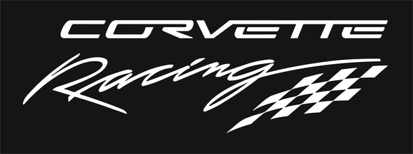 WHITE Corvette Racing Decal Checkered Flag Large