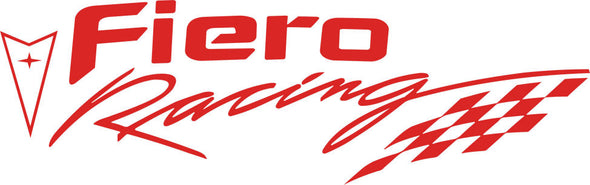 Red Pontiac Fiero Racing Decal with Checkered Flag - Choose Your Color