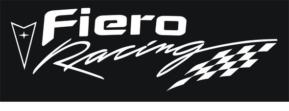 White Pontiac Fiero Racing Decal with Checkered Flag - Choose Your Color