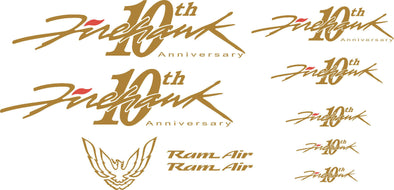 Pontiac Firebird Trans Am Firehawk 10th Anniversary Graphics Decal SET Bonus Ram Air