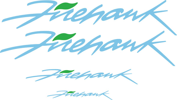 Sky Blue Pontiac Firebird Trans AM Firehawk Graphic Decal Set of Four (4) - Doors, Headlight, Rear Bumper