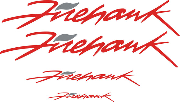 Red Pontiac Firebird Trans AM Firehawk Graphic Decal Set of Four (4) - Doors, Headlight, Rear Bumper