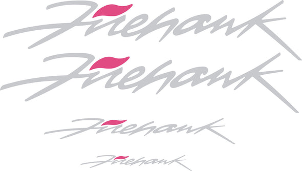 Silver Pontiac Firebird Trans AM Firehawk Graphic Decal Set of Four (4) - Doors, Headlight, Rear Bumper