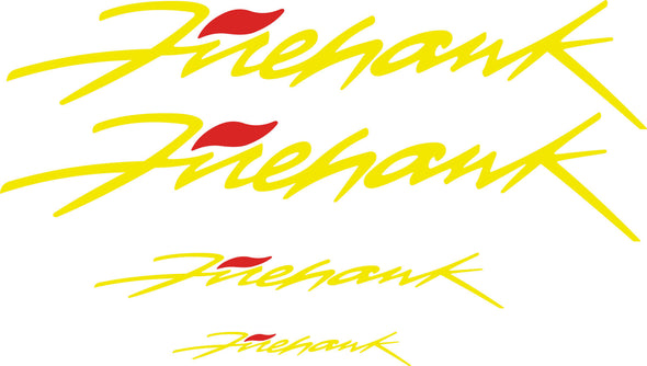 Yellow Pontiac Firebird Trans AM Firehawk Graphic Decal Set of Four (4) - Doors, Headlight, Rear Bumper