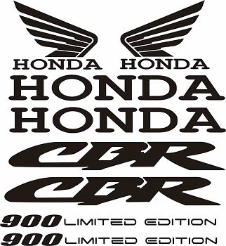 Honda CBR 900 Limited Decal Sticker Set Motorcycle 8 Decals CUSTOM Sizes Color