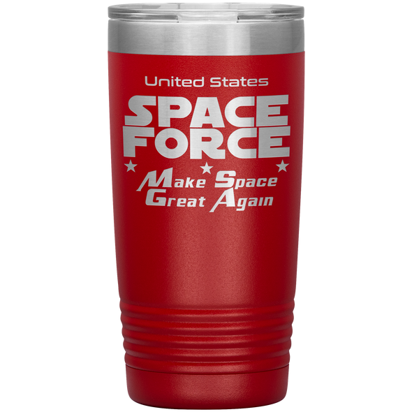 Red Space Force 20 Ounce Etched Tumbler - Make Space Great Again