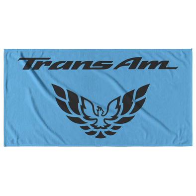 Trans Am with Screaming Chicken Emblem Beach Towel Black/Light Blue