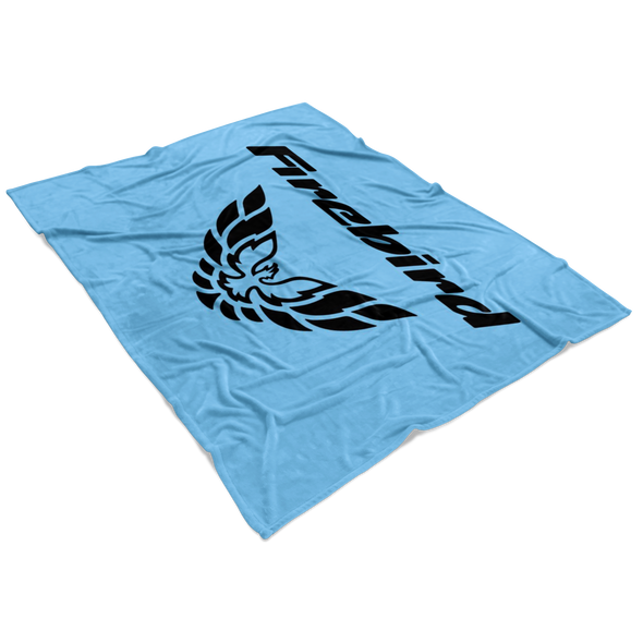 Firebird Screaming Chicken Fleece Blanket Black/Light Blue - Small, Medium or Large Sizes