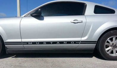 Body Side Stripes and Text Lower Door Decal Fits Ford Mustang 2005-09
