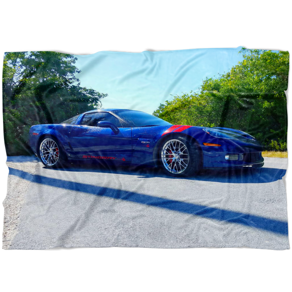 Corvette Z06 Stingray Photo Fleece Blanket - Small, Medium or Large Sizes