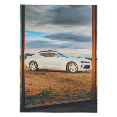 Sports Car In The Desert Hardcover Journal 5.75x8 and 7x10 Sizes 150 Perforated Pages