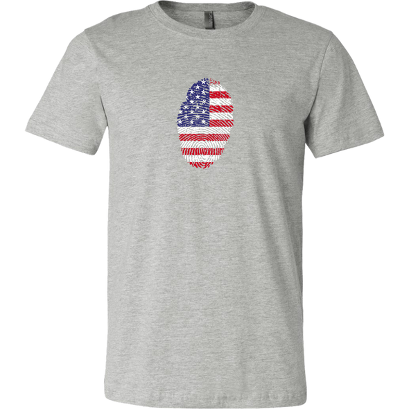 American Flag Thumbprint Canvas Mens T-Shirt