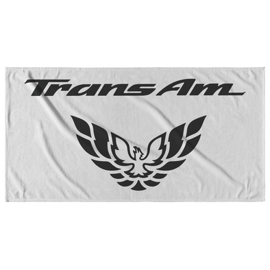Trans Am with Screaming Chicken Emblem Beach Towel Black/White