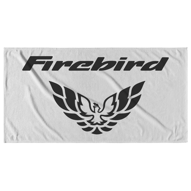 Firebird with Screaming Chicken Emblem Beach Towel Black/White