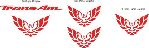 Combo Decal Set of Five Fits Pontiac Firebird or Trans Am 98-02 Style + Screaming Chickens