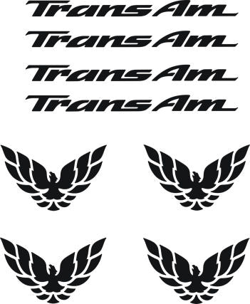 Wheel Decals Fit Firebird Pontiac ,Trans Am, Formula - Birds & Lettering
