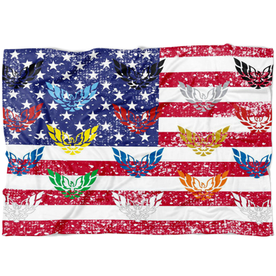 American Flag Firebird Trans Am Screaming Chicken Phoenix Rising Flock Fleece Blanket - Small, Medium or Large Sizes